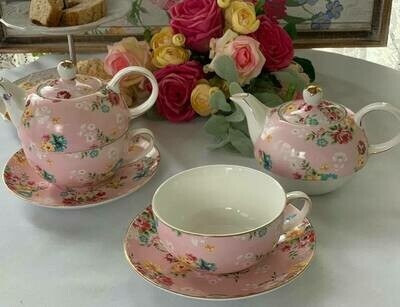 Shabby Rose Pink Tea for One