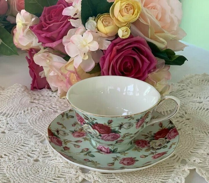 Rose Chintz Mint Cup and Saucer