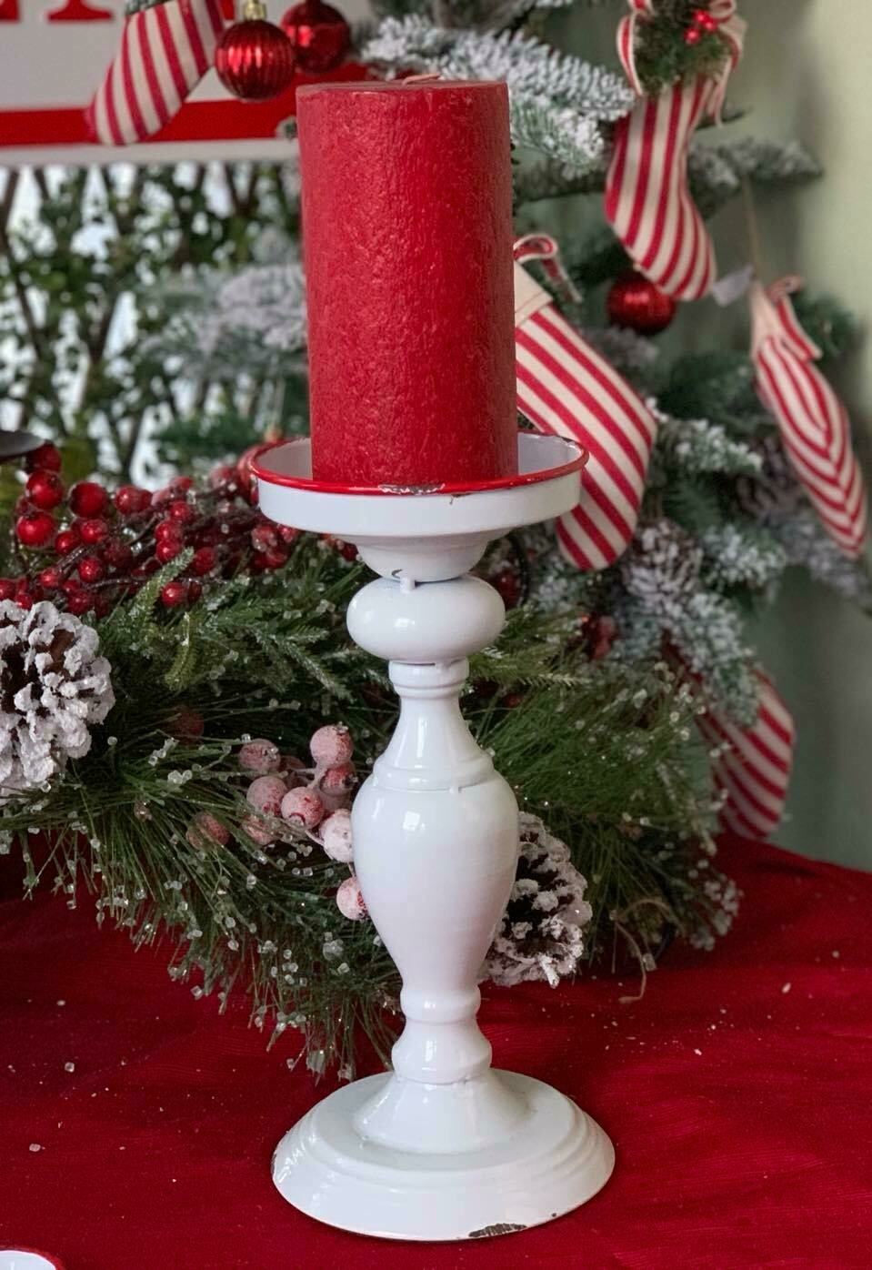 Red and White Enamelware Candlestick