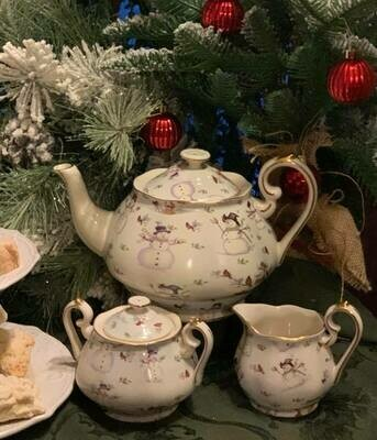Snowman Chintz Tea Pot