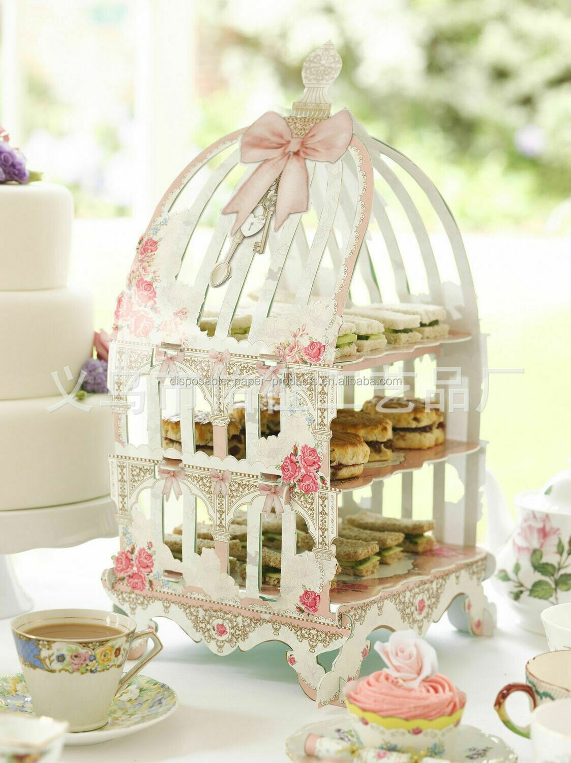 Birdcage Tiered Stand- white