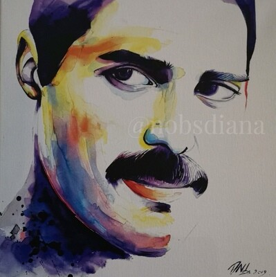 The portrait of Freddie Mercury /Limited edition print on canvas