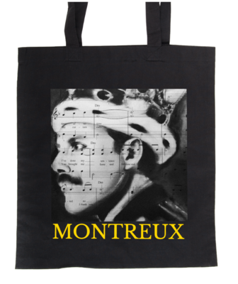 Black coton bag with the portrait of Freddie Mercury