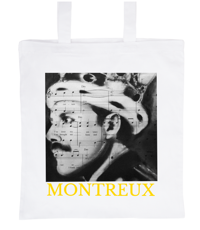 White coton bag with the portrait of Freddie Mercury