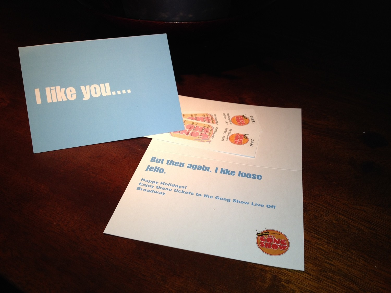 I like you Holiday gift card with 2 tickets