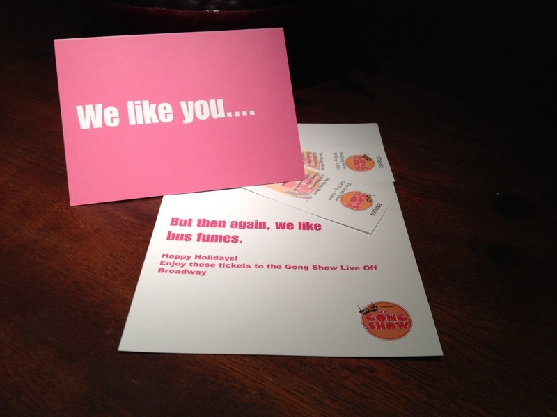 We like you Holiday gift card with 2 tickets