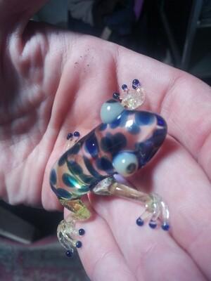 Glass multi-colored frog