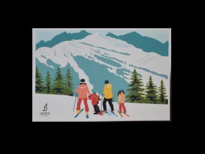 Family Ski Trip Postcard
