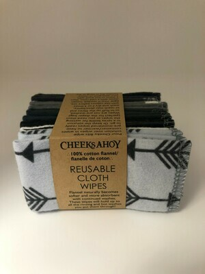 Reusable Cloth Wipes - Patterned Monochrome