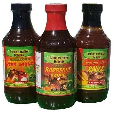 Jamaican Jerk Sauce, Spicy Barbecue and Mango Jerk Sauce - 16 Fl Oz (3 Pack)
