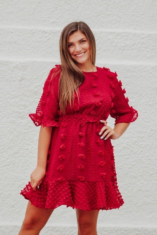 Red Pom Detail Dress