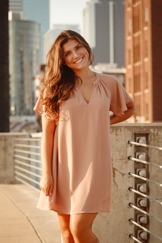 Nude Flowy Sleeve Dress