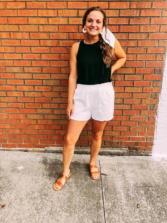 Ivory High Waist Shorts