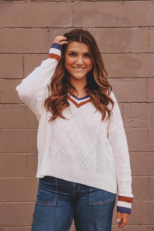 Cream Varsity Sweater