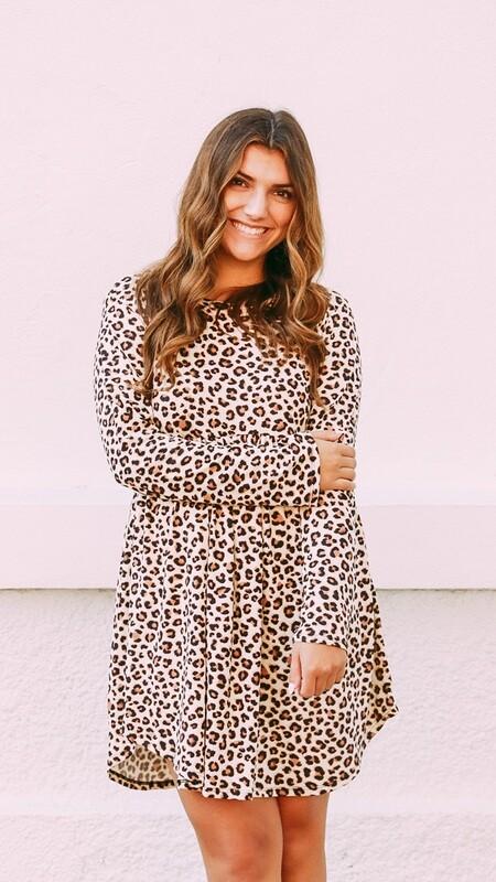 Leopard Long Sleeve Babydoll Dress