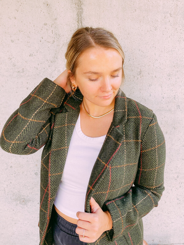 Olive Plaid Blazer