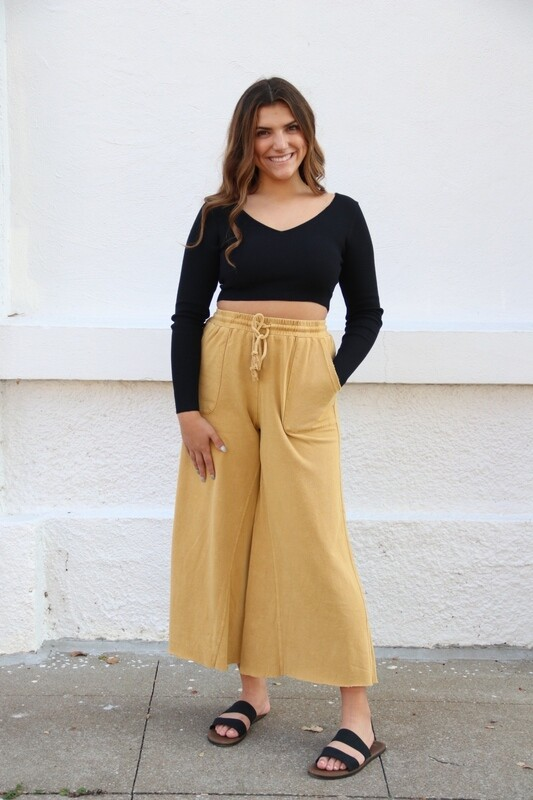 Mustard Wide Leg Crop Pants