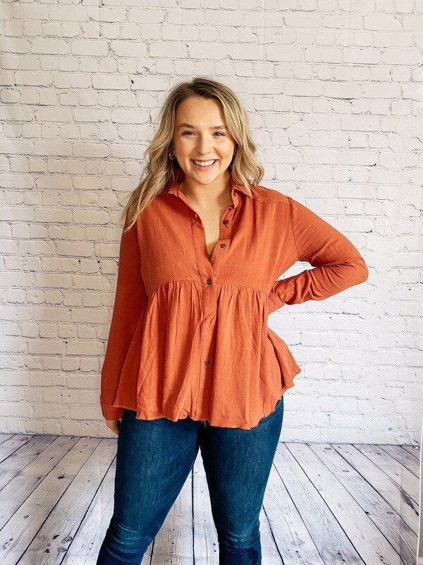 Rust Button-Front Babydoll Top