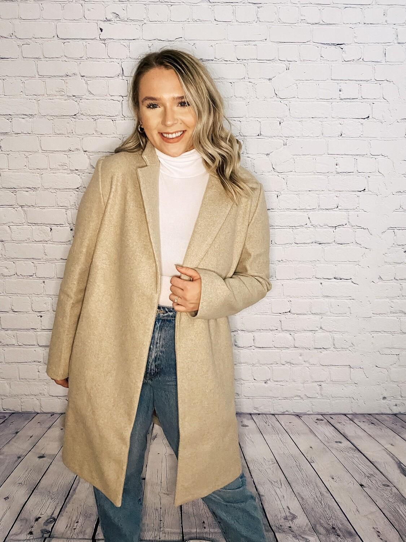 Oatmeal Long Tailored Coat