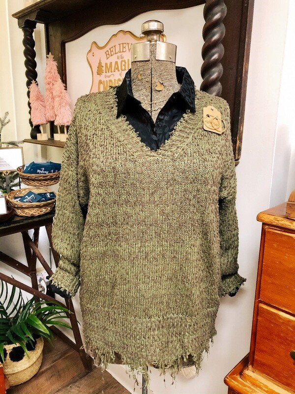 Olive Frayed Hem Sweater