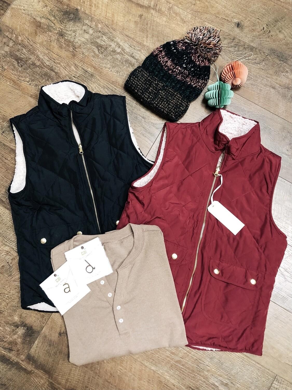 Black Reversible Fleece Vest