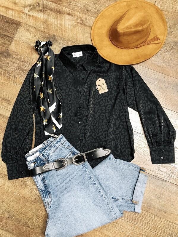 Black Cheetah Blouse
