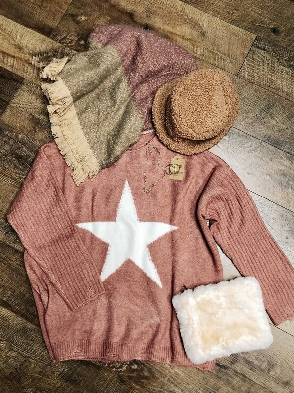Mauve Big Star Sweater