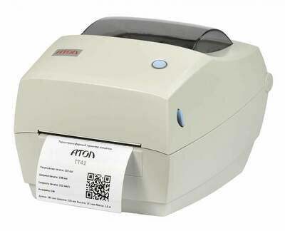 Принтер этикеток АТОЛ ТТ41 (203dpi, термо-трансферная печать, USB, ширина печати 108 мм, скорость 102 мм/с)