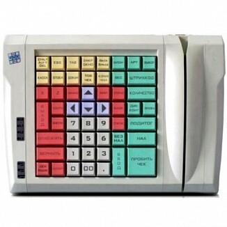 Программируемая клавиатура LPOS-064-M12(USB), 64 клавиши с ридером магнитных карт на 2 дор.бежевая
