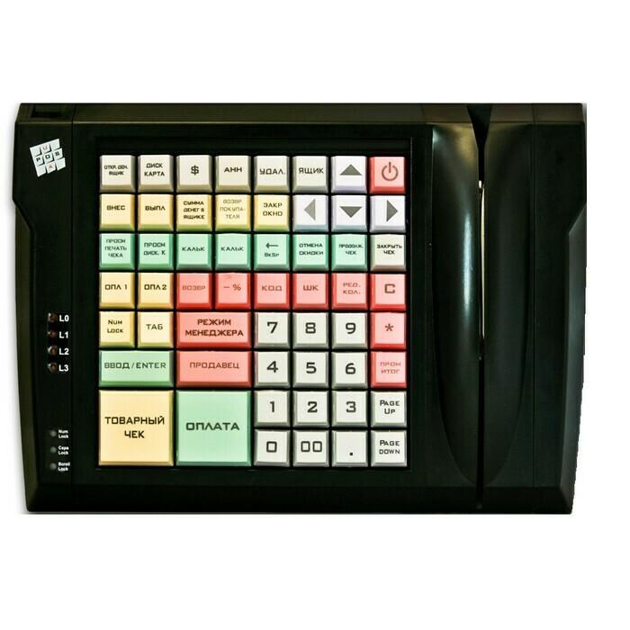 Программируемая клавиатура LPOS-064-M12(USB), 64 клавиши с ридером магнитных карт на 2 дор.черная