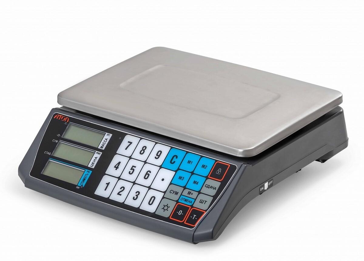 Весы торговые АТОЛ MARTA (без стойки, СОМ порт, кабель USB-RS, кабель RS-232, лицензия FDU)_с поверкой