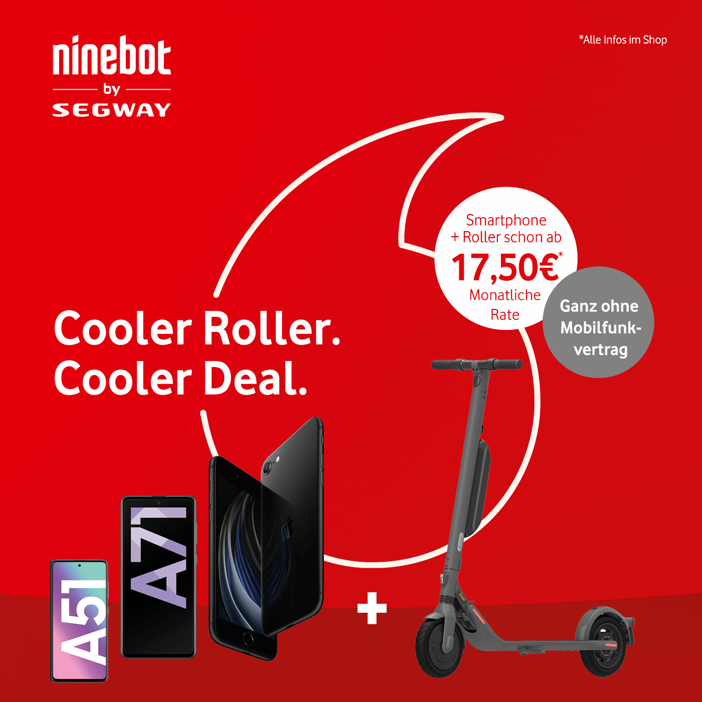 Wunsch-Smartphone inkl. Segway Ninebot E-Roller ab nur 17,50€ monatlich