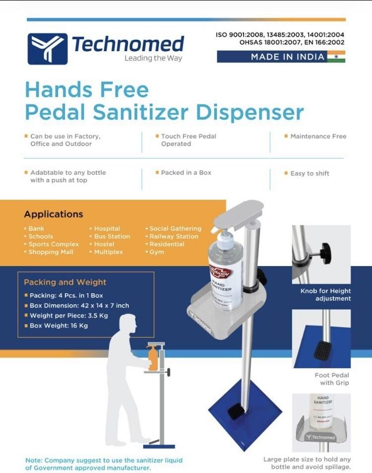 Hands free pedal Sanitiser dispenser