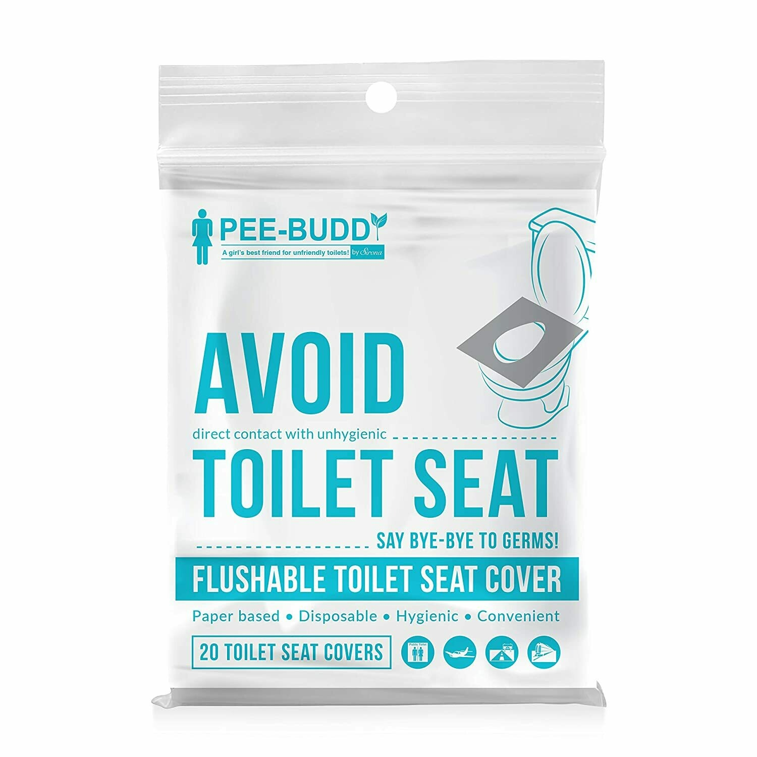 PeeBuddy Disposable Paper Toilet Seat Covers - 100 Sheets (Pack of 5), to Avoid Direct Contact with Unhygienic Seats