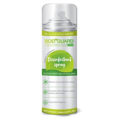 BodyGuard Multipurpose Alcohol Based Disinfectant Spray- 500 ml, Kills 99.9% of Germs