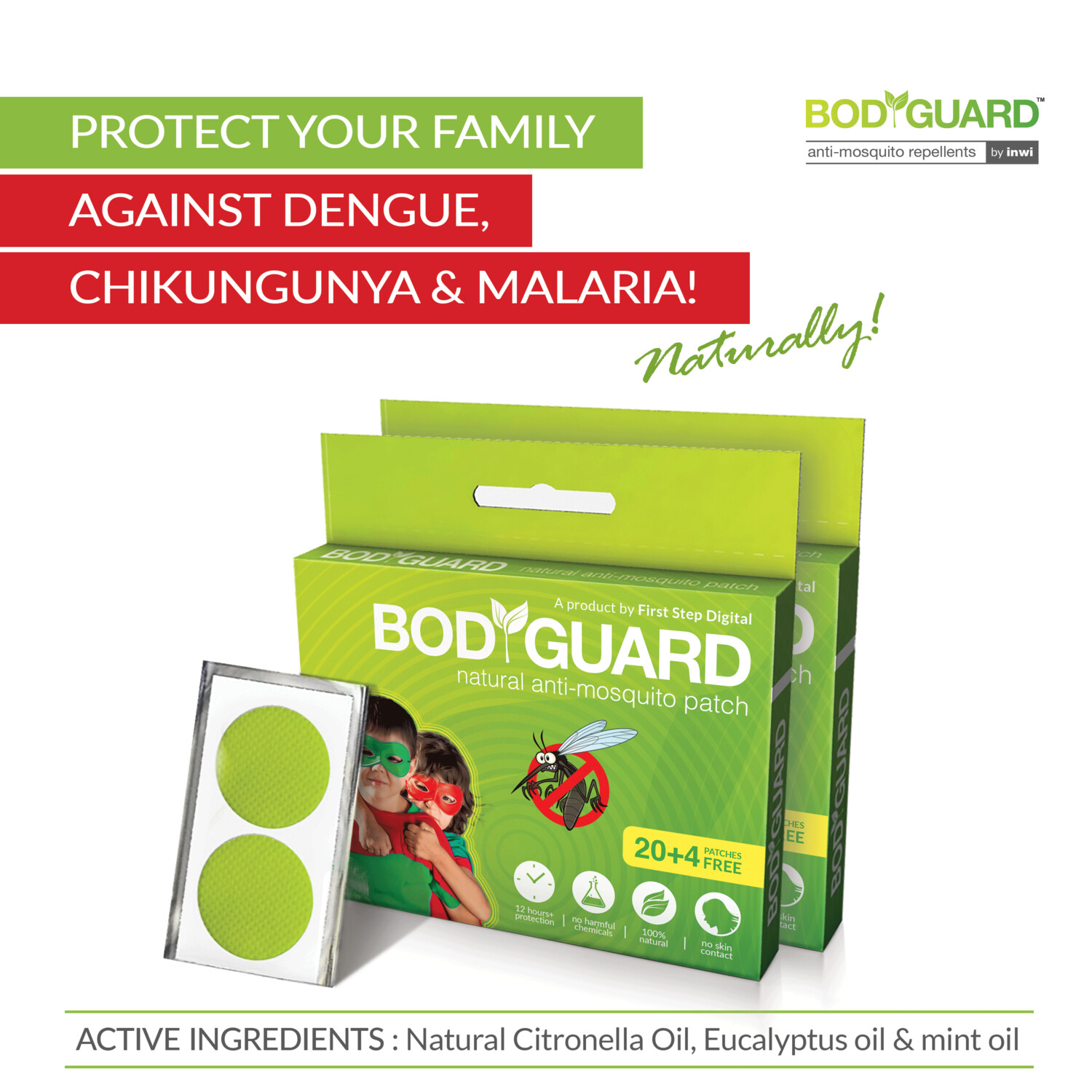 Bodyguard Premium Natural Anti Mosquito Patches - 40 + 8 Patches
