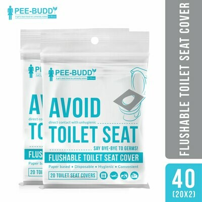 PeeBuddy Flushable Toilet Seat Cover to Avoid Direct Contact with Unhygienic Toilet Seats - 20 Seat Covers -(Pack of 2)