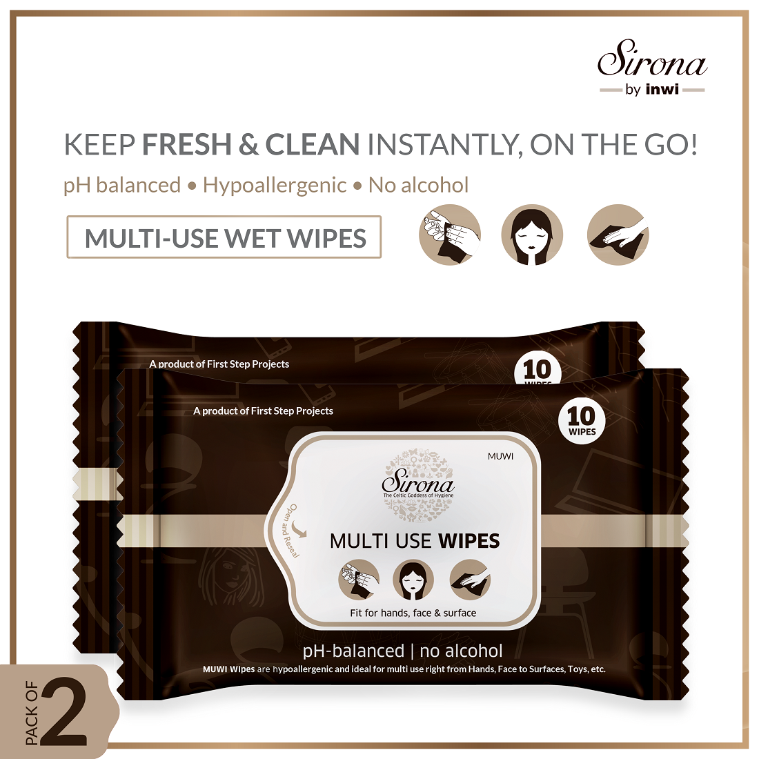 Multi Use Wet Wipes by Sirona 30 Wipes (3 Pack - 10 Wipes Each)