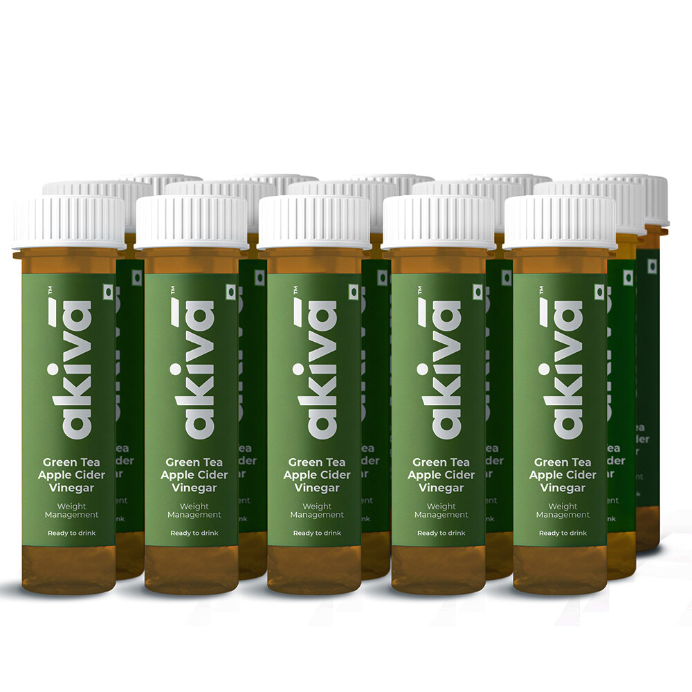 Green Tea Health Shots with Apple Cider Vinegar for Weight Management, 600ml (15 Shots x 40ml) - Ready to Drink Shots by Akiva Love