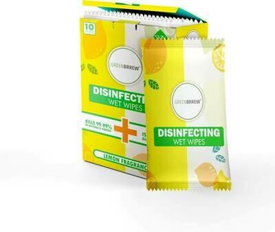 Greenbrrew Disinfectant Wet Wipes (Lemon) - 10 Sachets (Pack of 2)