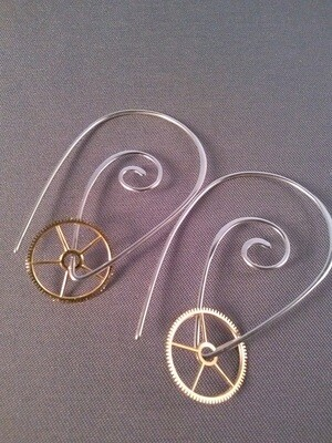 Silver Spiral Steampunk Earrings  Item#: 2020-10309
