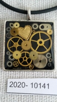 Silver Square Steampunk Pendant with Gold Heart 2020-10141