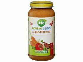 Légumes biologiques bouillis, riz et boeuf 12+ mois 250g