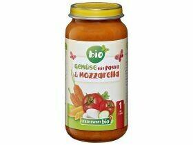 Légumes biologiques en bouillie avec pâtes et mozzarella biologiques 12+ mois 250g