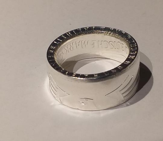 Ring 5 DM    Prägejahr außen 1974 – 2001 versilbert
