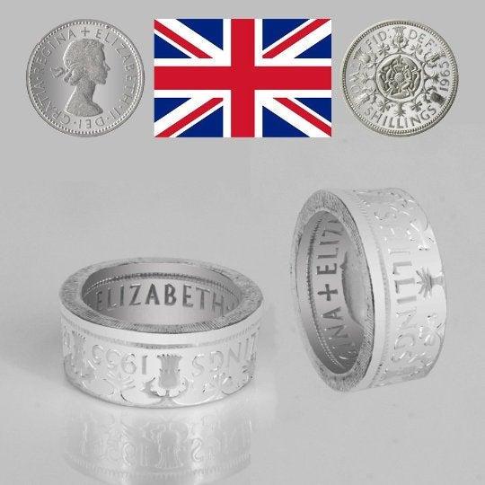 Ring 2 Shilling Elizabeth II 1954-1970 England