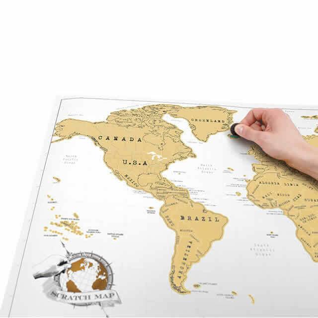 Carte du monde murale à gratter