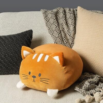 Coussin chat douillet brun