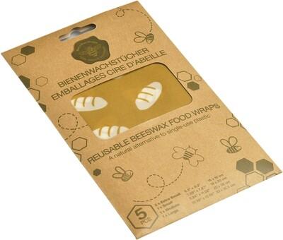 Emballage réutilisable en cire d'abeille 5 pces