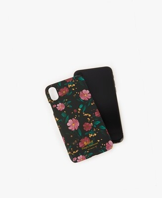 Fourre iPhone X XS black FLowers